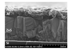 Cross-section SEM image of a single hetero-junction cell with ZnS. The top layer is the Au/Al contact